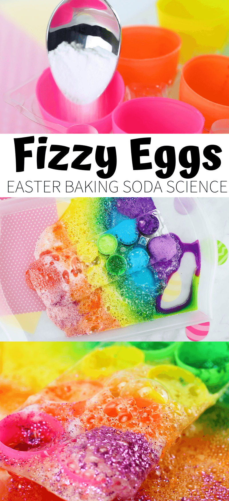 baking soda and vinegar reaction for Easter rainbow eggs