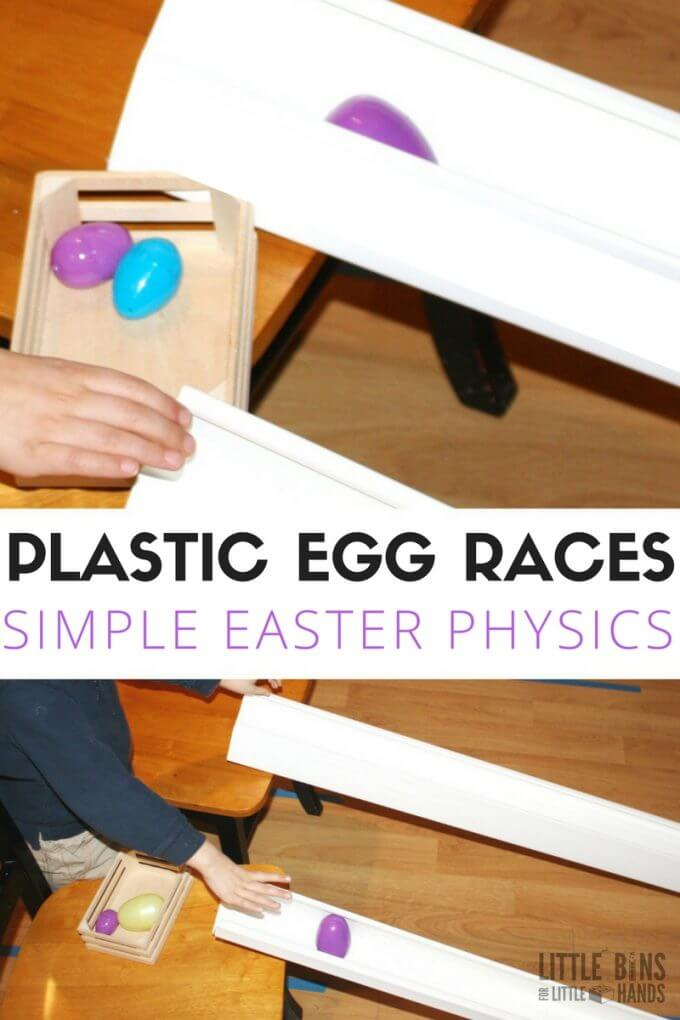 Plastic egg races using plastic Easter eggs. A fun way to explore Easter science and Easter physics with young kids! Rolling eggs to learn about gravity, motion, force, and angles!