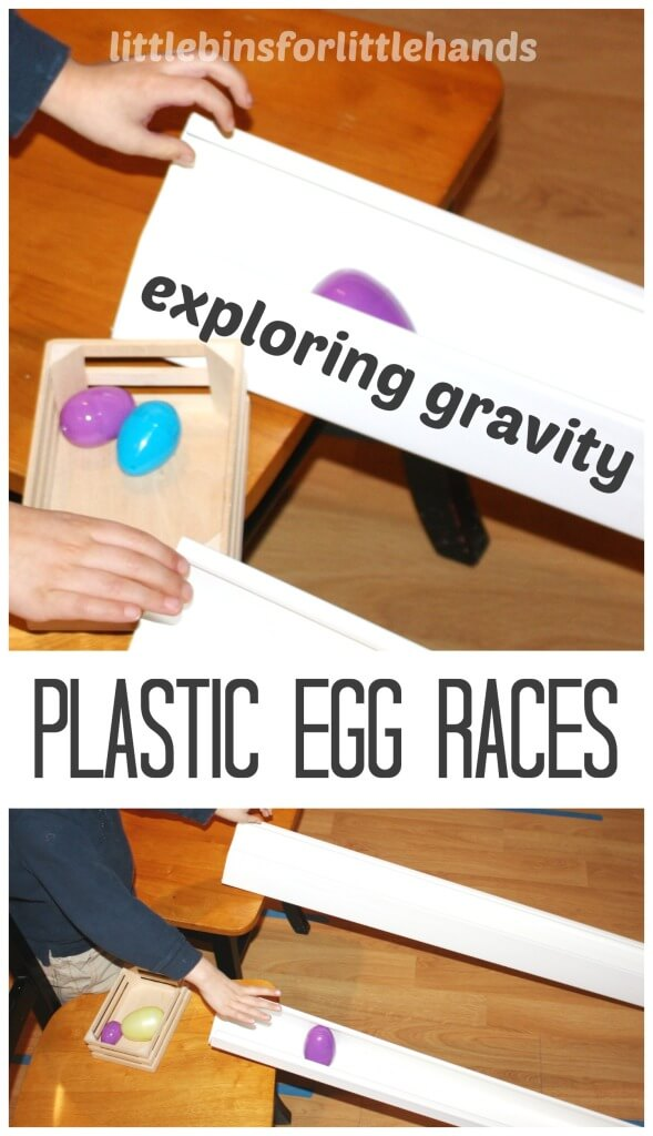 Plastic Easter Egg Races Exploring Gravity Science Activity