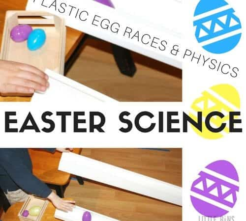 Plastic Easter Egg Races For Easter Science and Physics with Kids