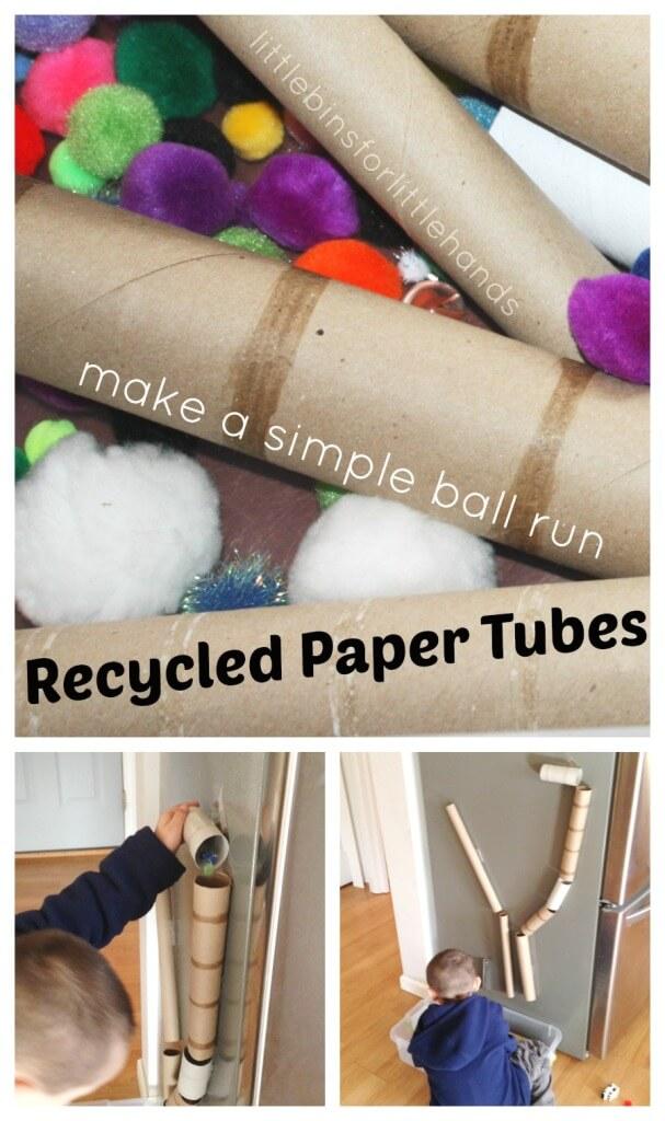 Recycled Cardboard Tube Ball Run Sensory Bin