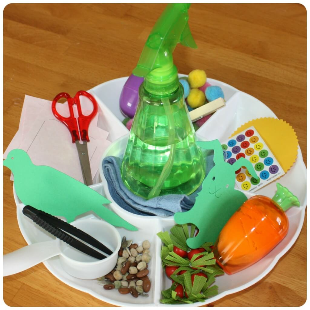 Spring Fine Motor Activity Tray Set Up 1