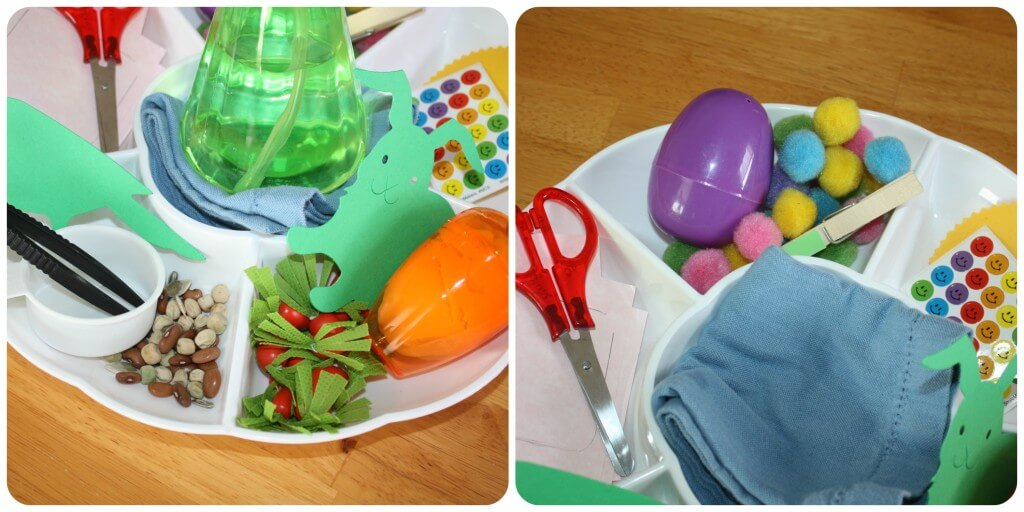 Spring Fine Motor Activity Tray Set Up