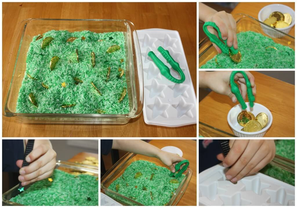 St Patricks Day Fine Motor Activities Coins and Tweezers