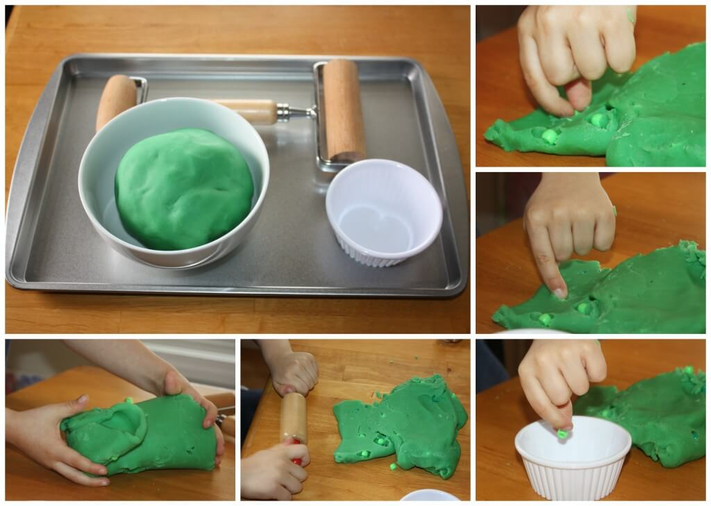 St Patricks Day Fine Motor Play Dough Activity