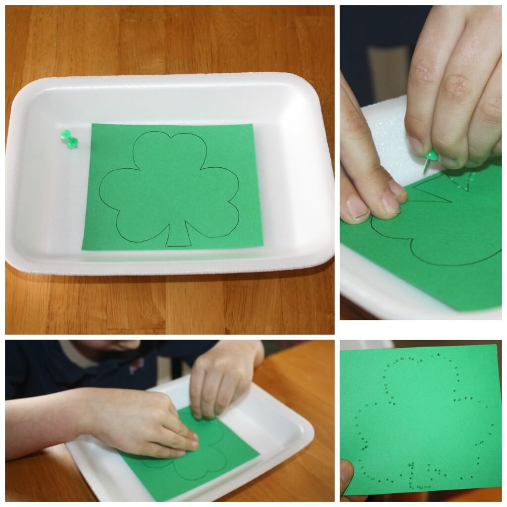St Patricks Day Fine Motor Punching Thumb Tack Activity