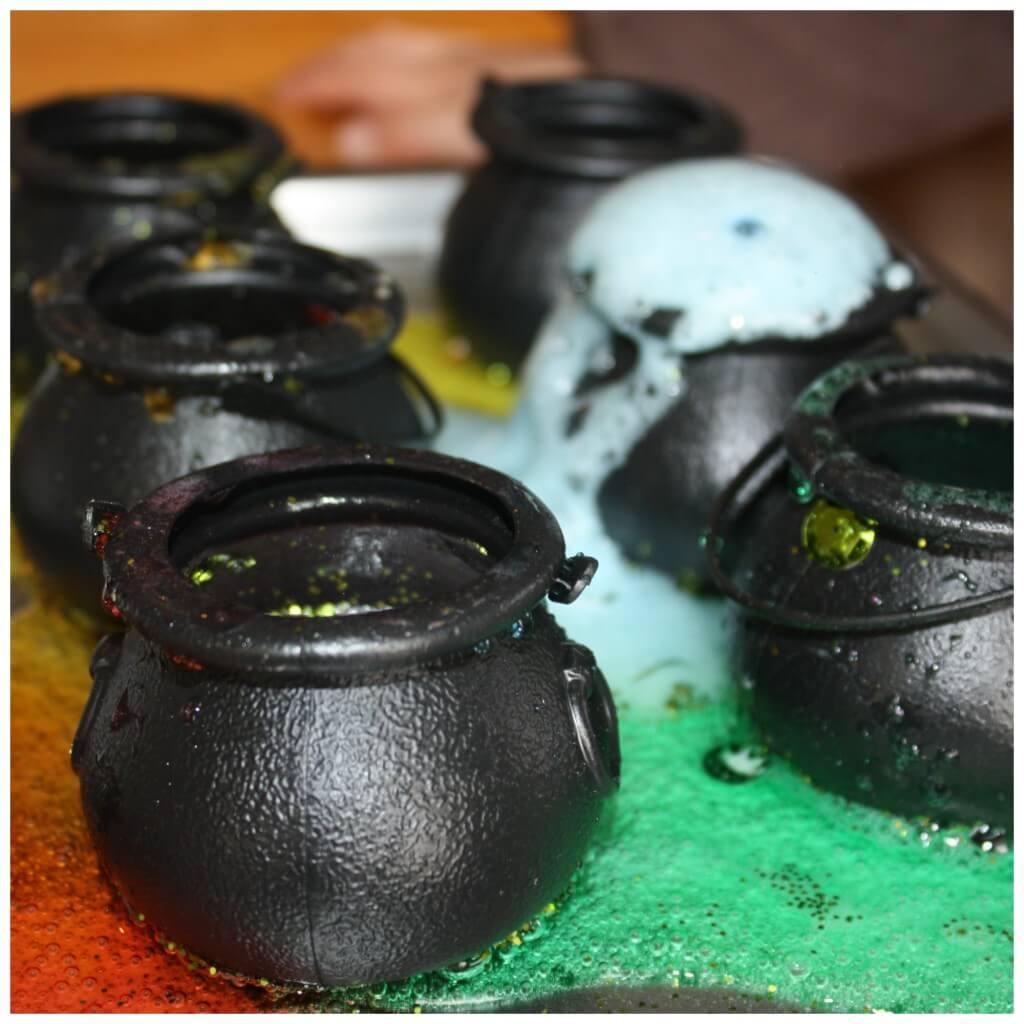 St Patricks Day Fizzing Pots Science Experiment Blue