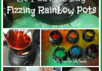 St Patricks Day Fizzing Pots Science Experiment and color mixing activity