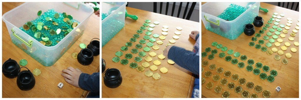 St Patricks Day Sensory Bin Counting Game Start to Finish