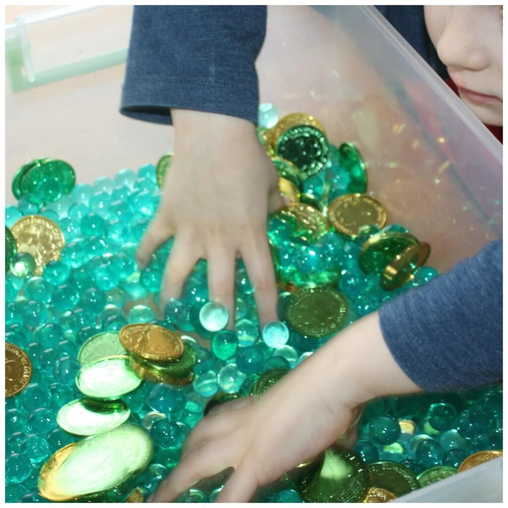St Patricks Day Sensory Bin Mixing Coins