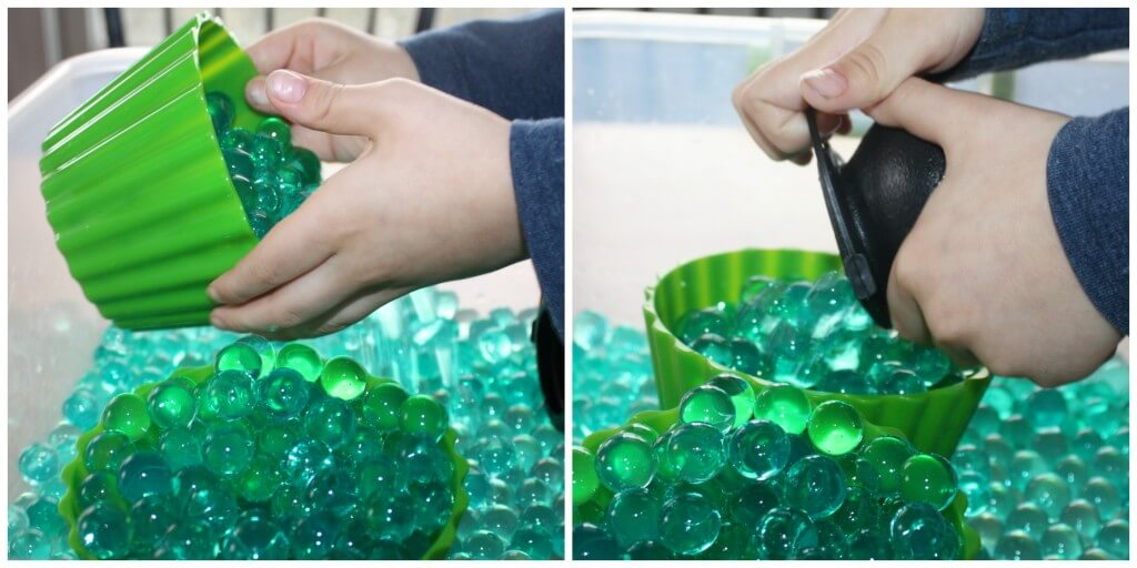 St Patricks Day Sensory Bin Water Beads Dumping Filling