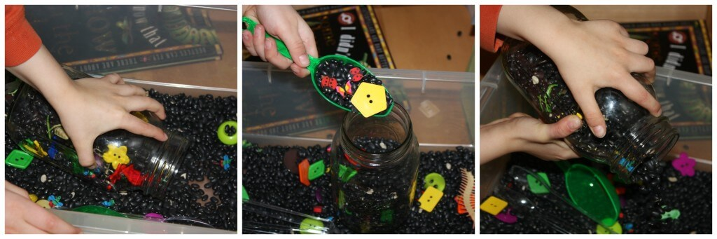 bugs sensory bin filling and dumping