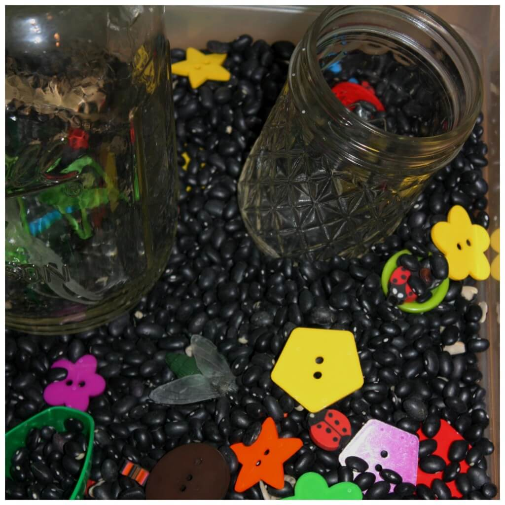 bugs sensory bin with mason jars