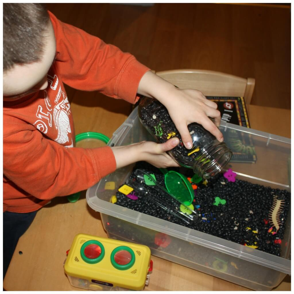 bugs sensory play bin independent play