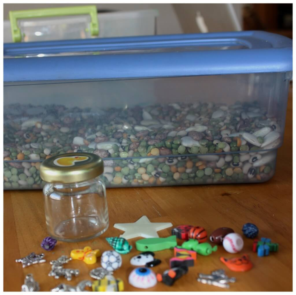 calming sensory bin goodies