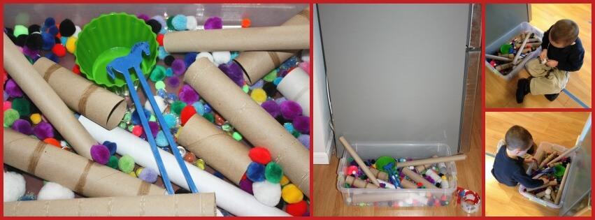 cardboard tube activity set up