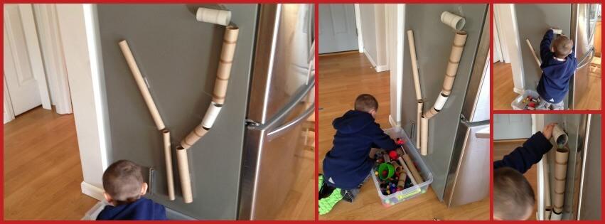 cardboard tube making marble run activity