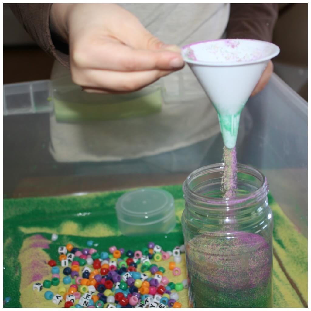 craft sand sensory bin filler funnel