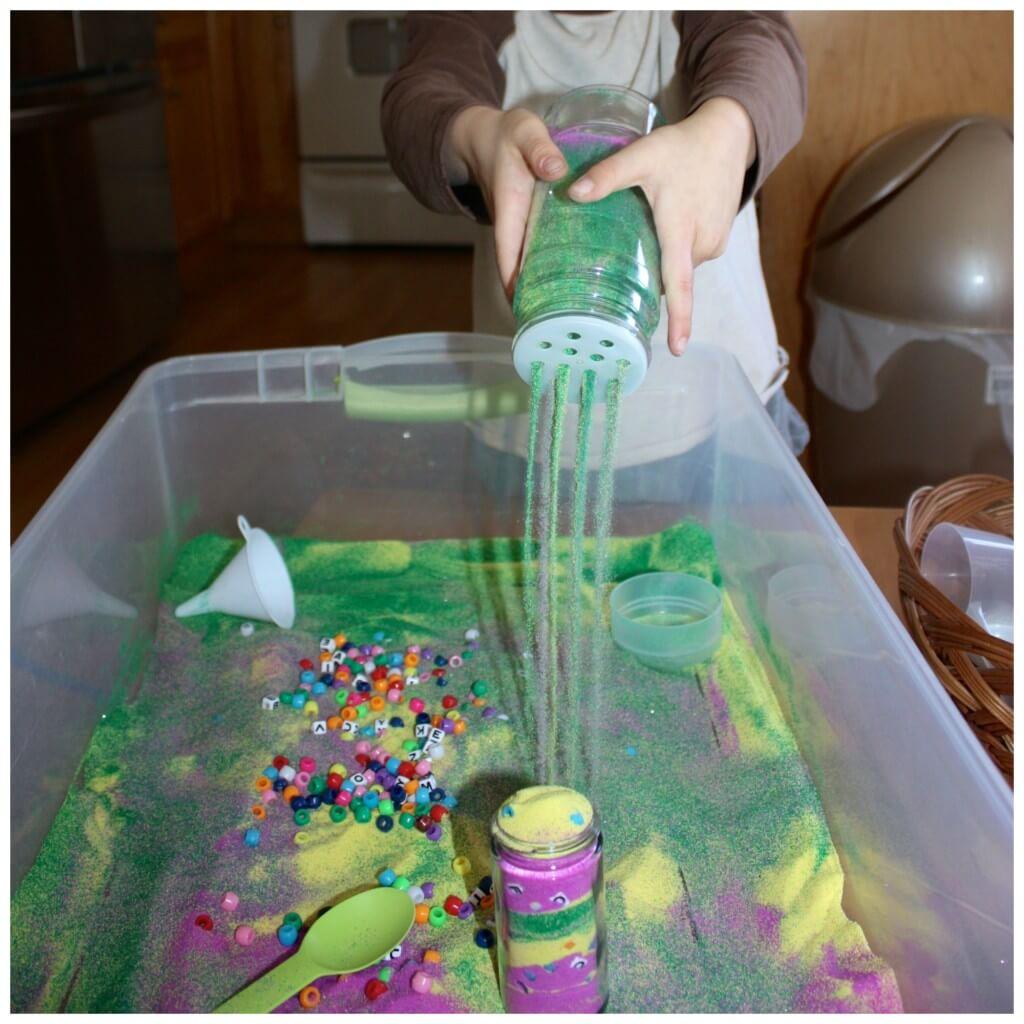 craft sand sensory bin filler pouring sand