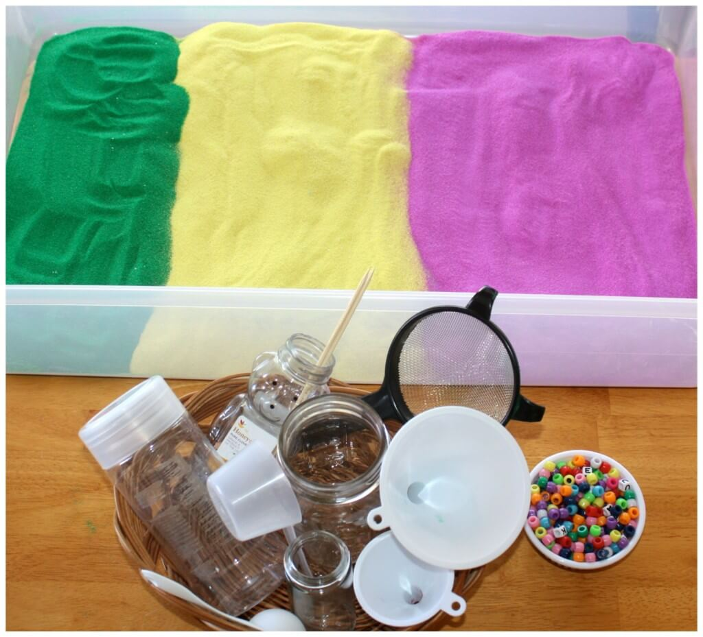 craft sand sensory bin filler set up