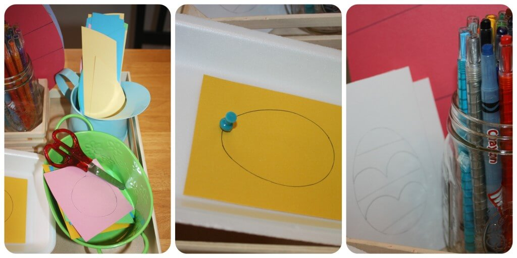 easter egg fine motor activities set up