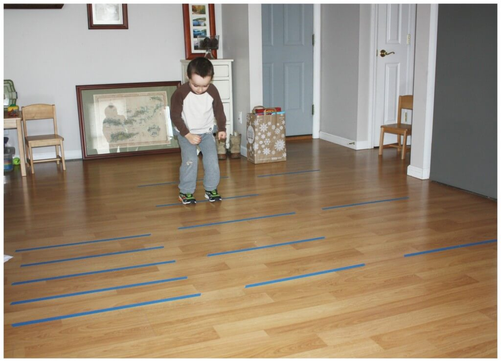 line jumping activity set up