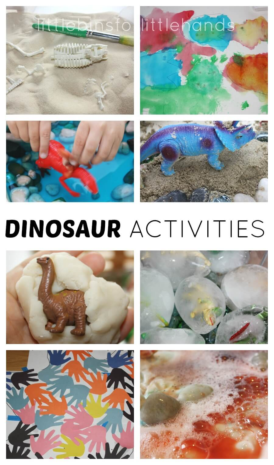dinosaur activities for science, sensory, literacy, math, and fine motor skills for kids