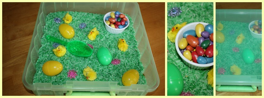 Easter Sensory Bin To Go Set Up