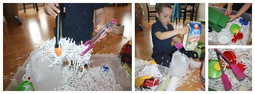 Paper sensory bin play 1