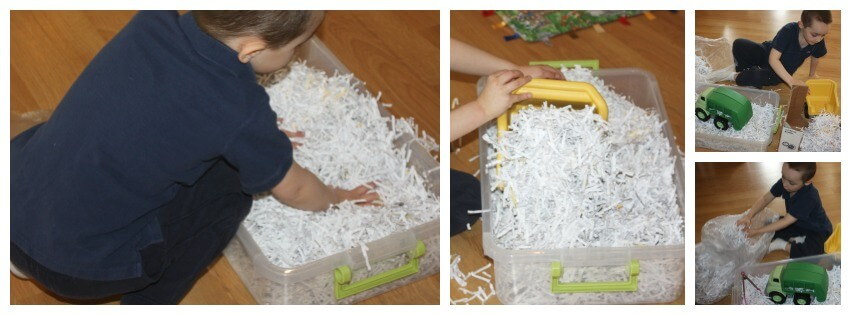 Paper sensory bin set up