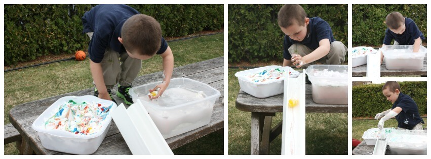 easter Messy Sensory Play Washing eggs and sending down shoot