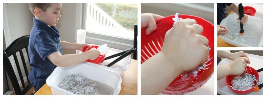 paper sensory bin water play