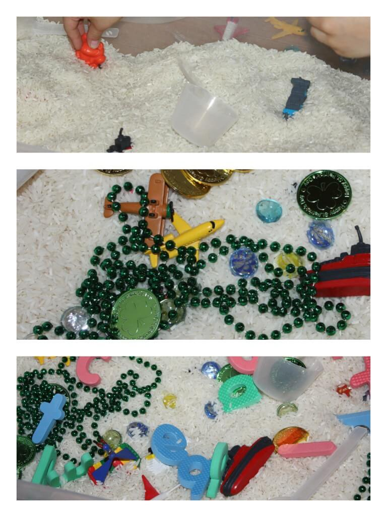 rice sensory bin challenge levels of play