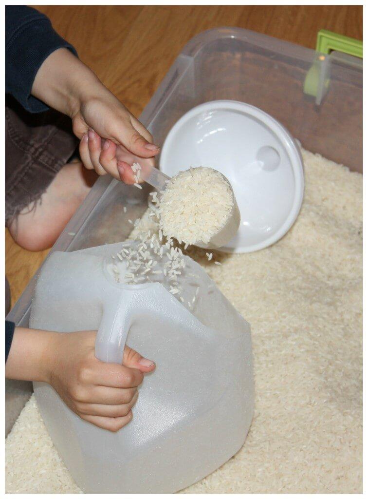 rice sensory bin challenge scooping