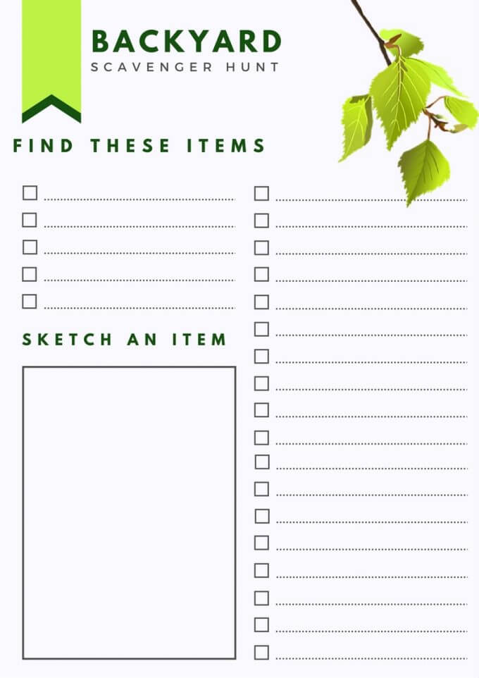 Scavenger Hunt 5 Senses Backyard Hiking Camping Activities for Kids