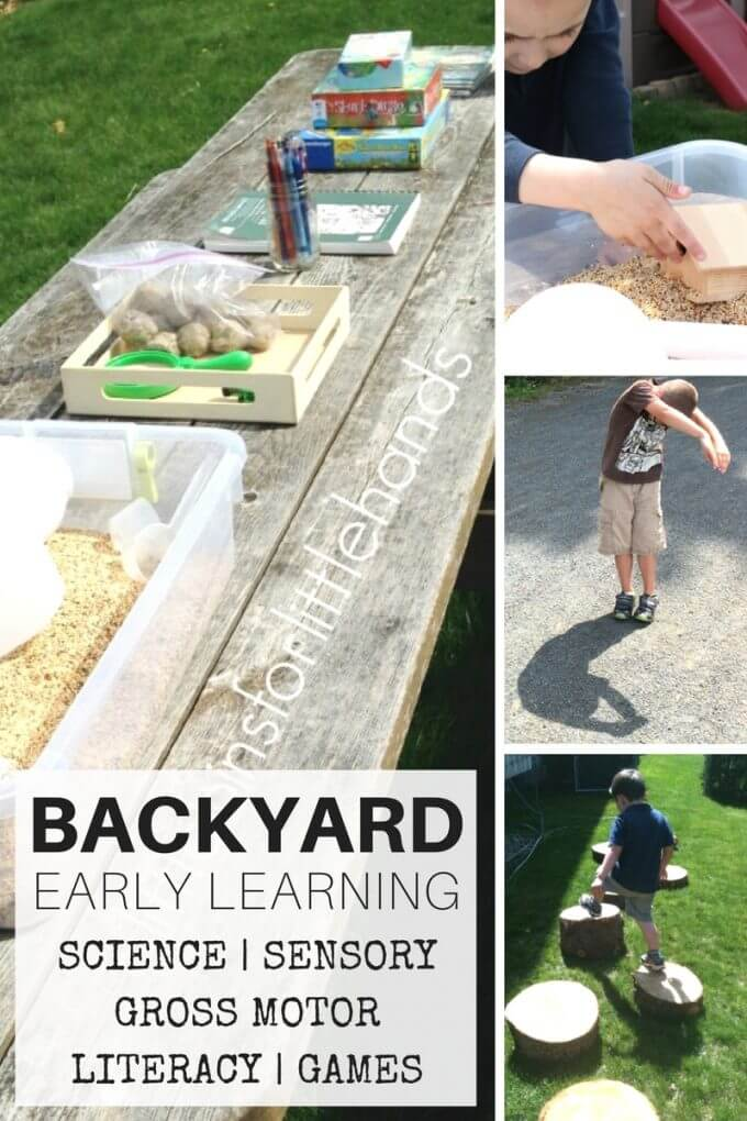 Backyard activities for kids in a small backyard! Our backyard activities include nature science ideas, outdoor sensory play activities, nature drawing and play dough, printable backyard scavenger hunt, gross motor play, and more!