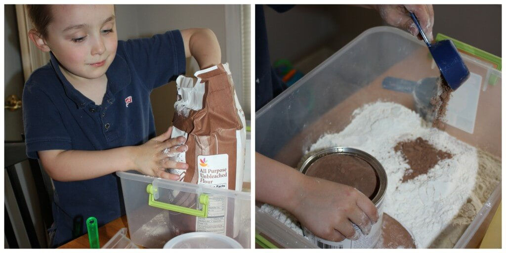 Messy Sensory Play Experiment Making Cocoa Cloud Dough