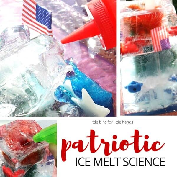 Patriotic Ice Melt Science Activity for Independence Day 4th of July or Memorial Day