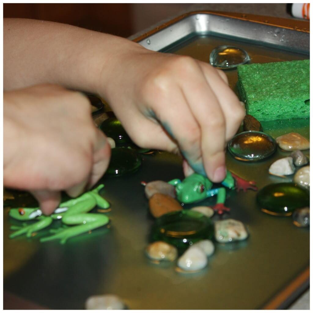 Sensory Tray Frog Play