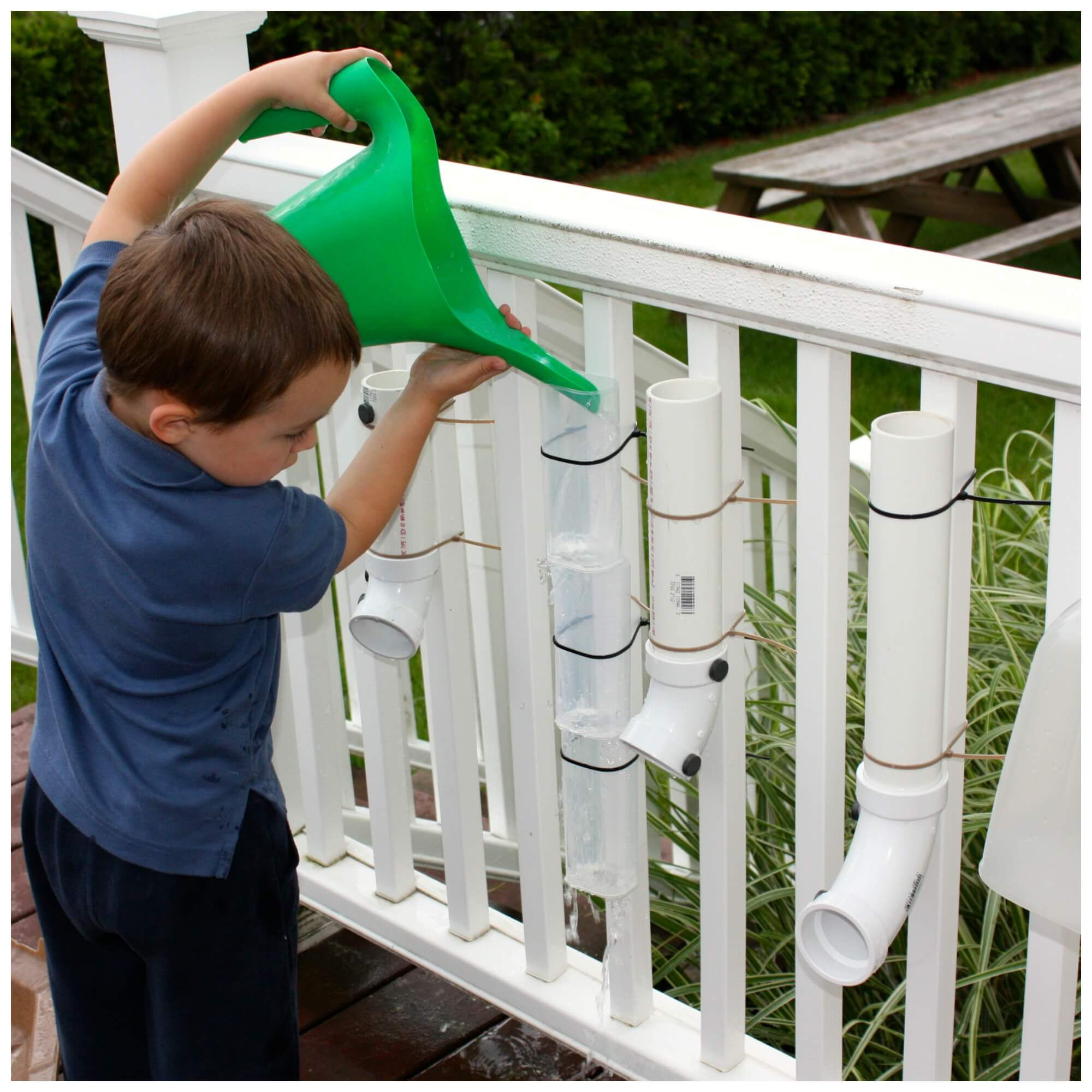 Water and ice activities summer camp at home with 12 weeks of easy - Backyard Simple Water Wall