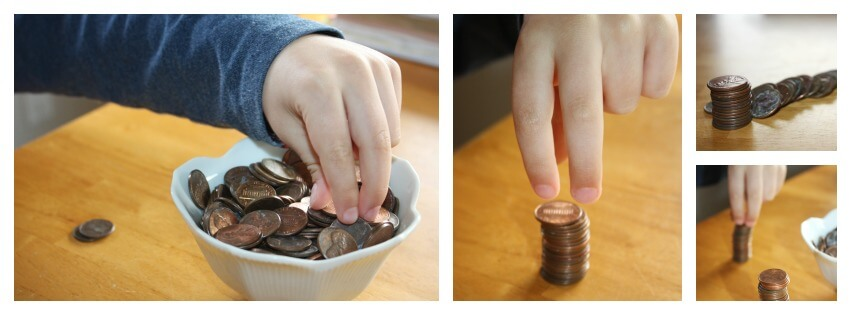 coin fine motor skill tower making