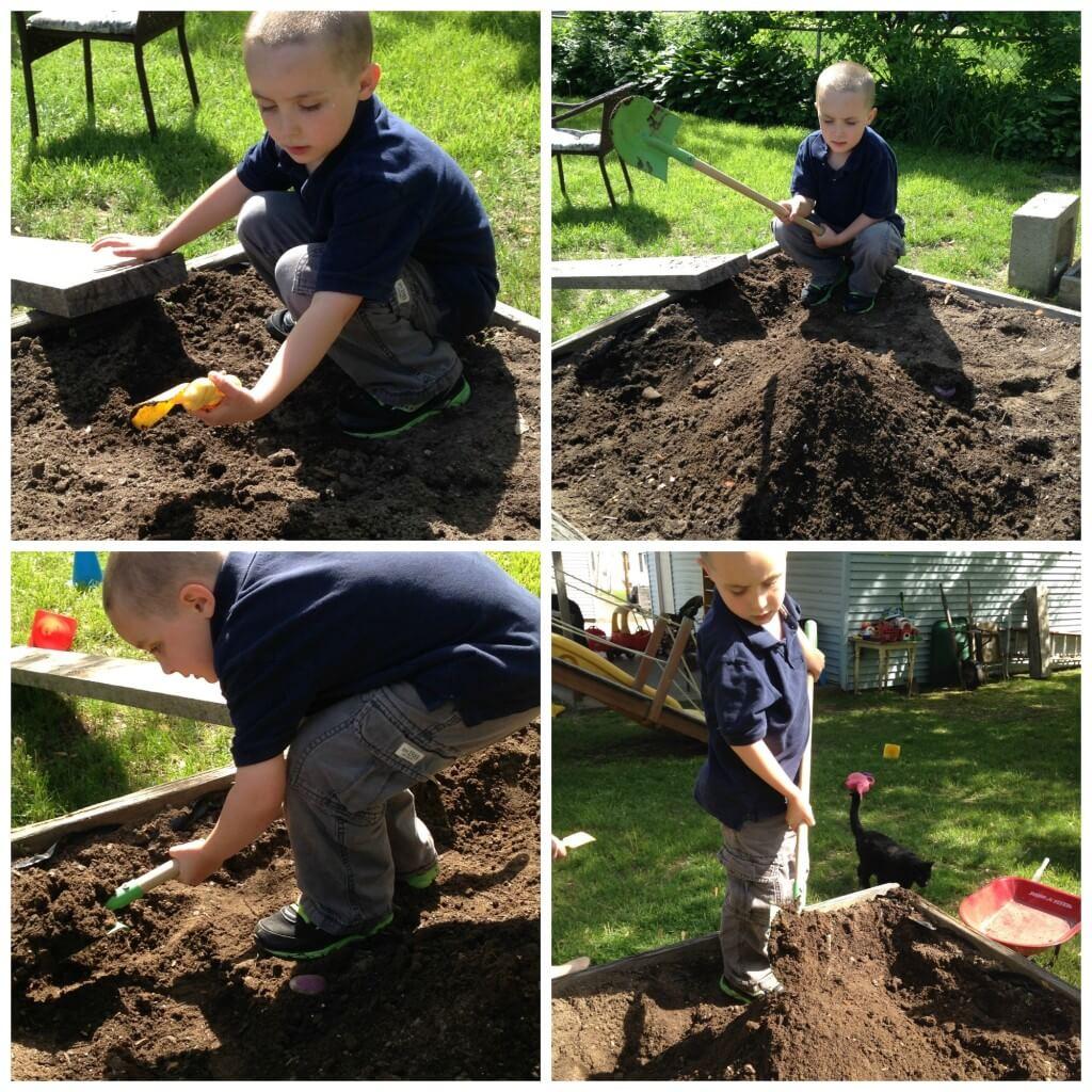 dirt sensory bin challenge digging