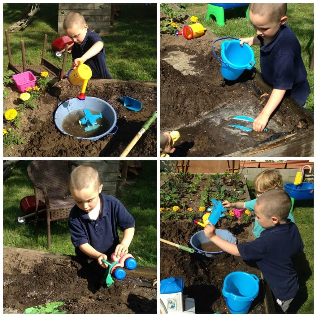 dirt sensory bin challenge play