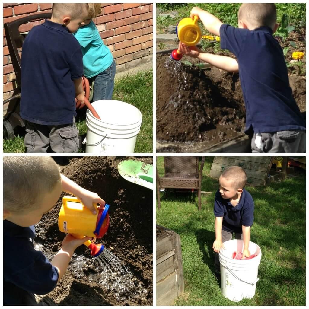 dirt sensory bin challenge water