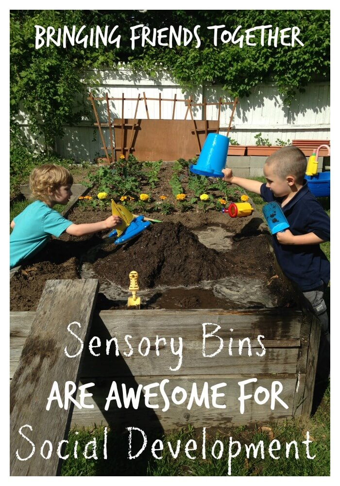 dirt sensory bin for social development