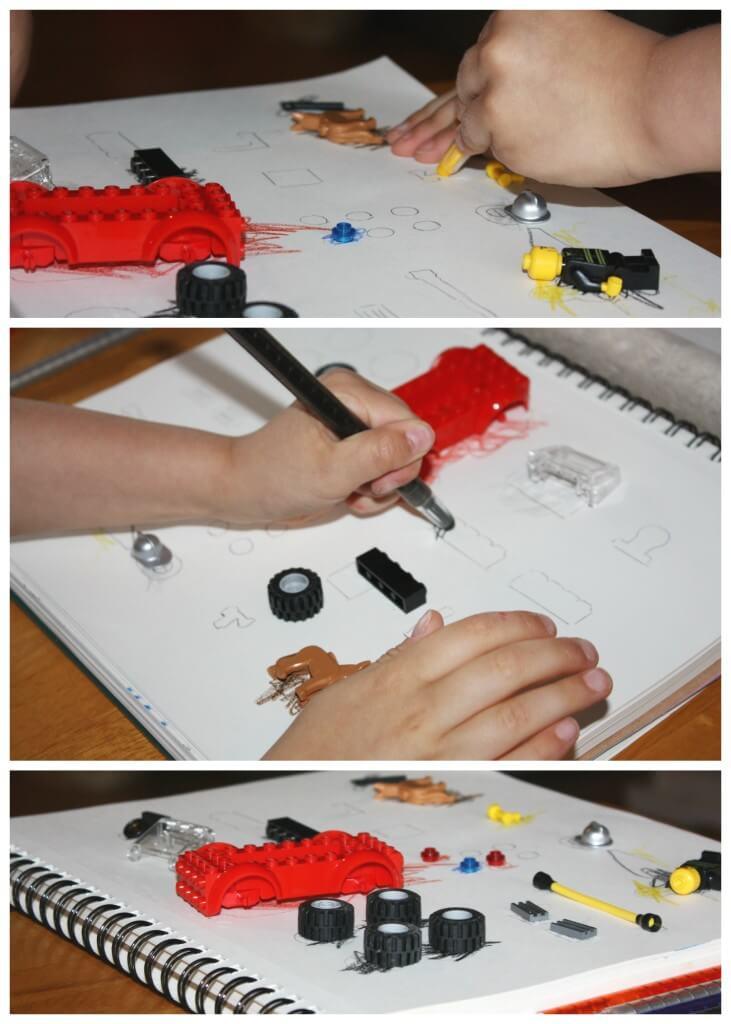 engineering lego sensory bin color and match