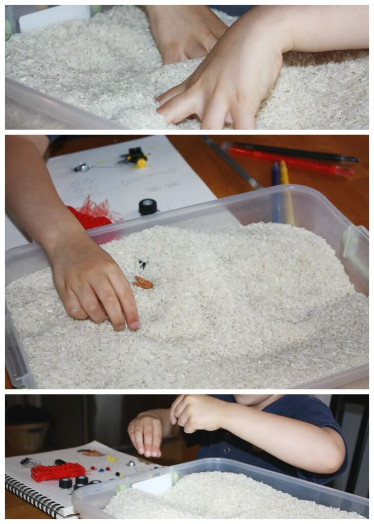 engineering lego sensory bin searching