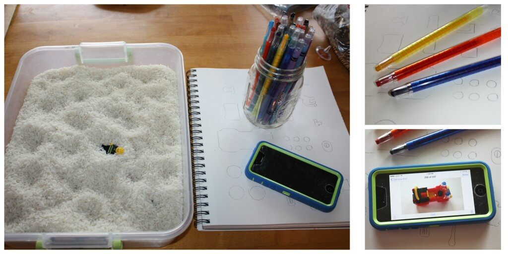 engineering lego sensory bin set up