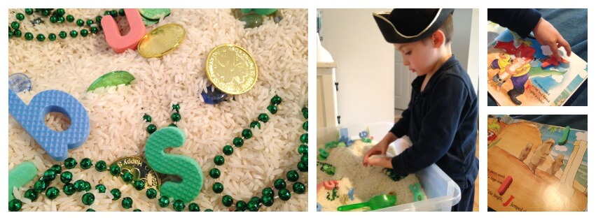 pirate sensory bin play