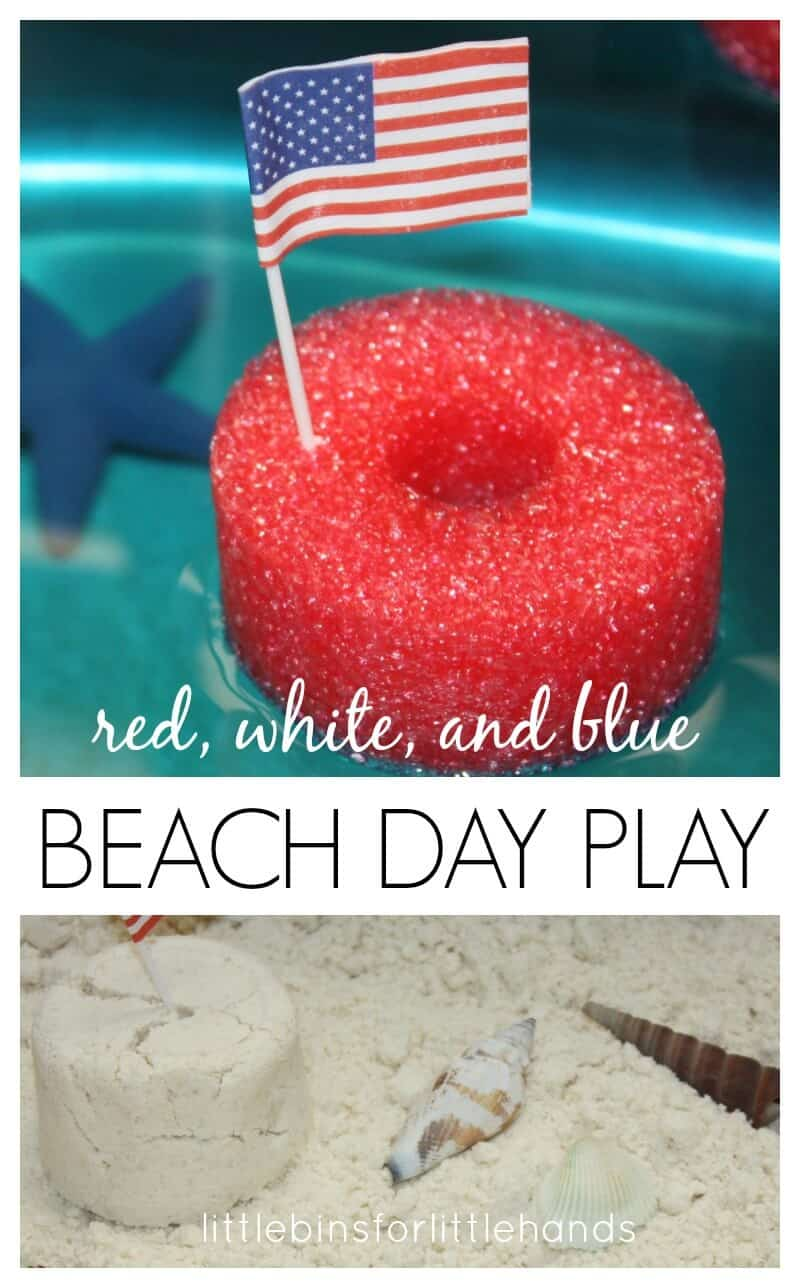 4th July beach sensory sink and summer sensory play with homemade cloud dough, water play, and boats! Easy 4th of July activities for kids.
